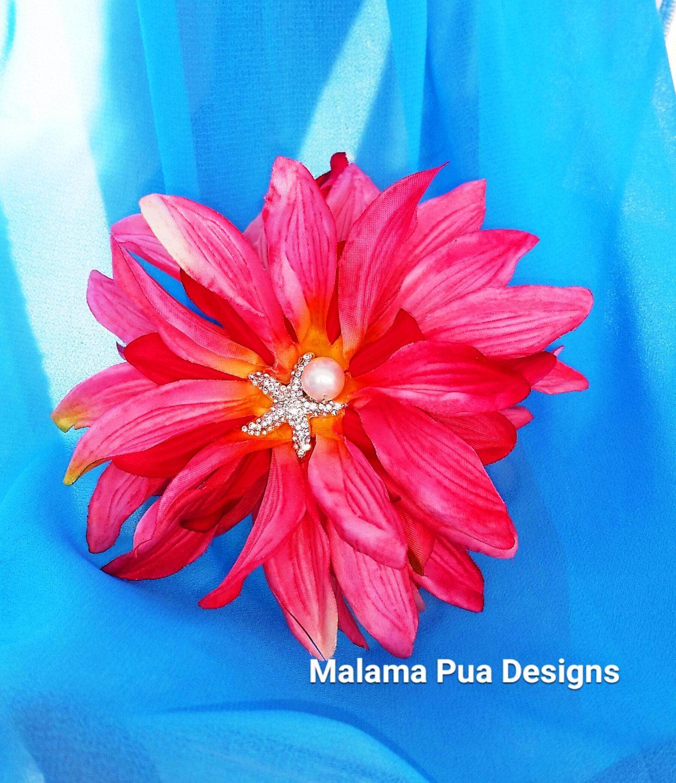 Coral Pink Dahlia Tropical Hair Flower Hair Clip Wedding