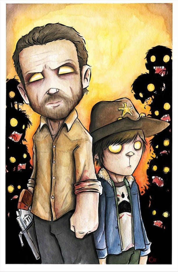 The Walking Dead Characters In Watercolors And Ink Dessin