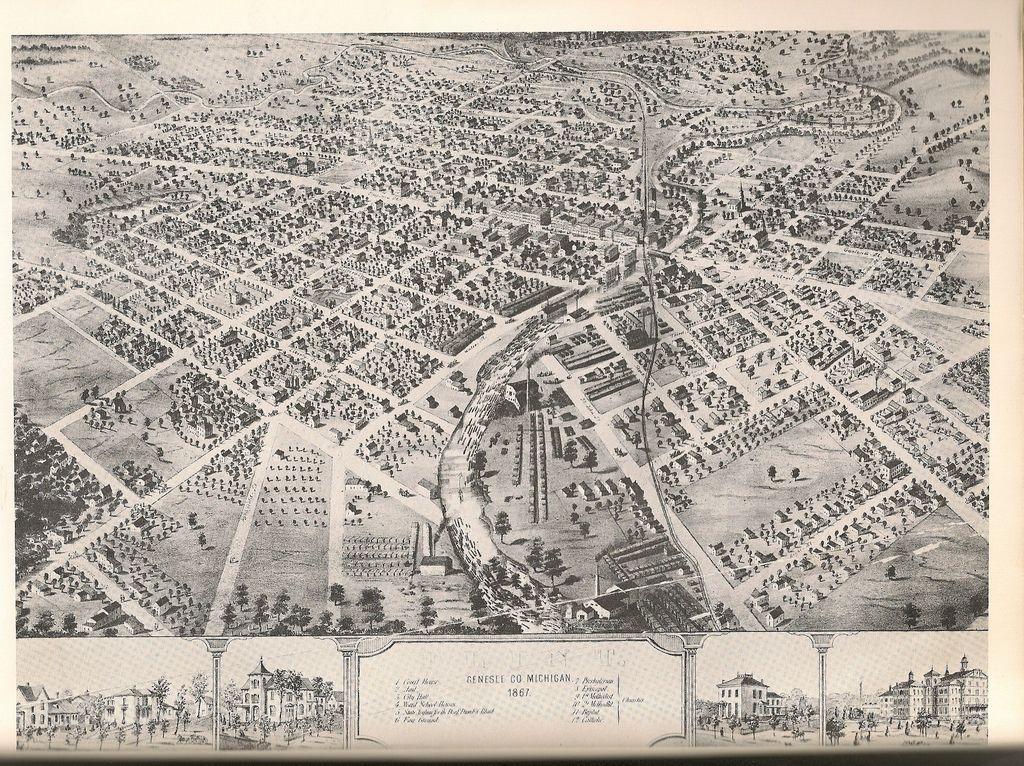 1867 Hand Drawn Map Of Flint Michigan Flint Michigan Michigan Flint