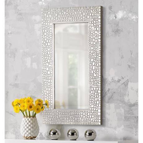 Savla Textured Relief Silver 24 X 36 Wall Mirror T9616 Lamps Plus Silver Wall Mirror Silver Walls Mirror Wall 24 by 36 mirror