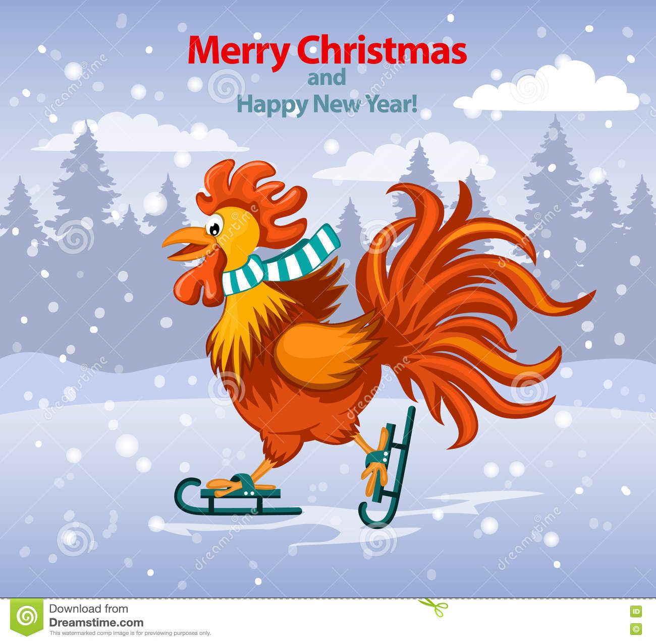 Merry Christmas Funny china Cartoon New Year Card With
