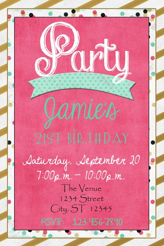 Happy Birthday Gold Pink Teal Party Invitation by InviteMeBoutique ...