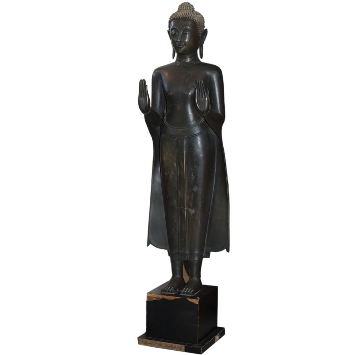 Description antique burmese bronze statue of a standing buddha with description antique burmese bronze statue of a standing buddha with hands outstretched in front to symbolize repelling the biocorpaavc Choice Image