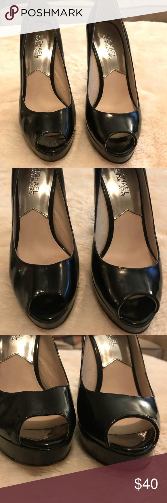 "c99307070d34 Michael Kors patent peep toe platform heels Michael Kors ""Erika"" Black  patent leather Round"