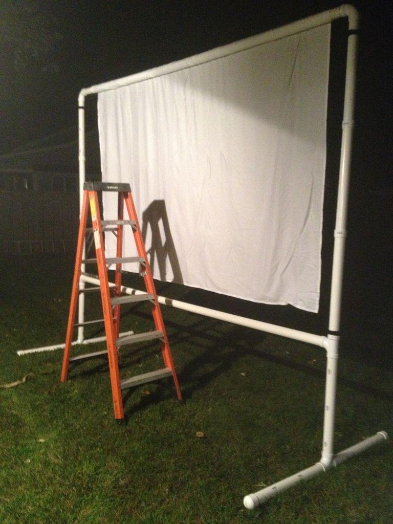 Preparing The Screen Final Assembly Diy Outdoor Movie Screen Projector Screen Diy Backyard Movie Screen