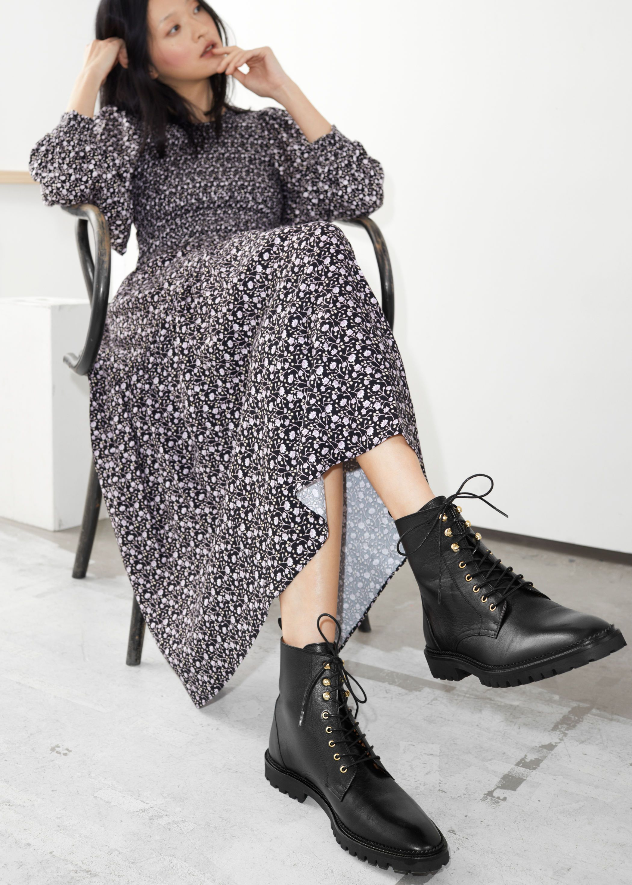 Leather Boots   Lace dress outfit