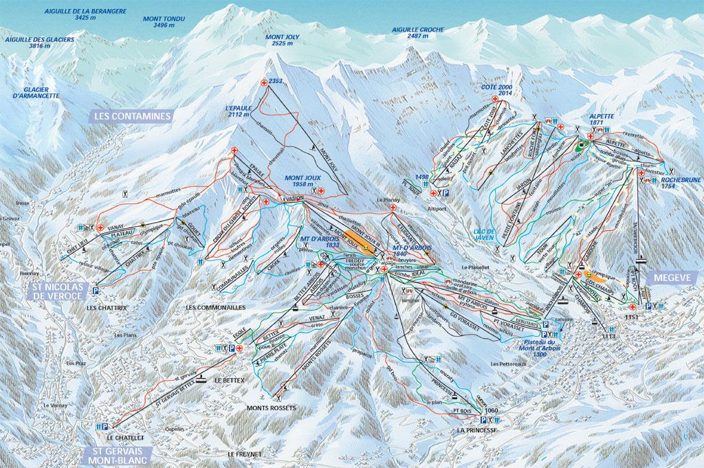 St Gervais piste map Places where i was Pinterest Saints