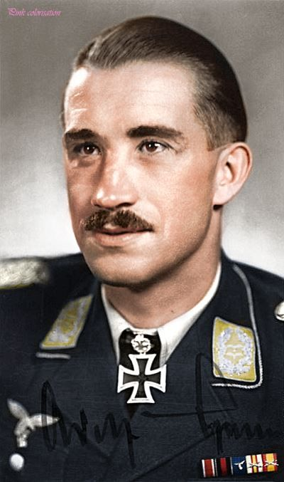 """Adolf """"Dolfo"""" Galland. 104 aerial victories. Awardeds of Knight's Cross of the Iron Cross with Oak Leaves, Swords and Diamonds."""