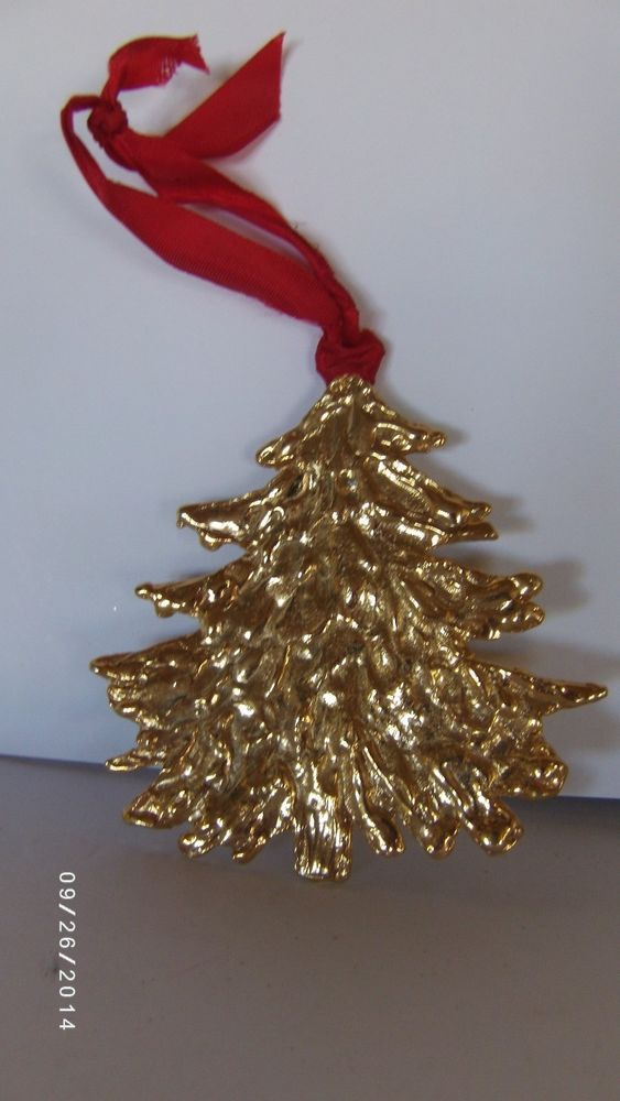 gold christmas tree with red ribbon ornament in home garden ebay - Ebay Christmas Decorations