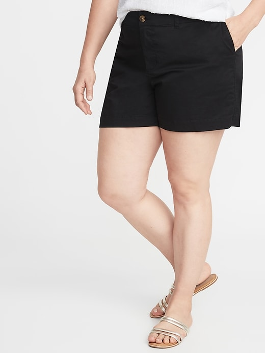 af8f5d35f8 Old Navy Women's Mid-Rise Plus-Size Everyday Twill Shorts - 5 Inch Inseam  Black Size 30