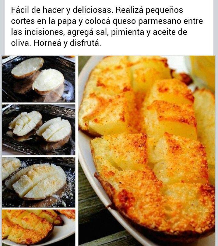 Papas al horno, con cortes y queso parmesano