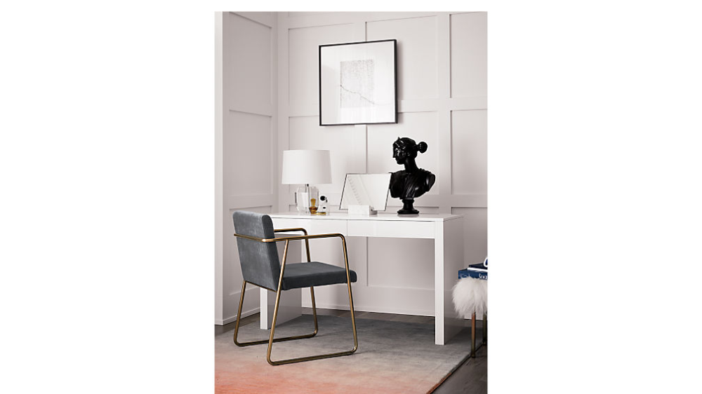 Runway White Lacquer Desk Reviews Cb2 In 2020 White Lacquer Desk Dining Chairs Diy Home