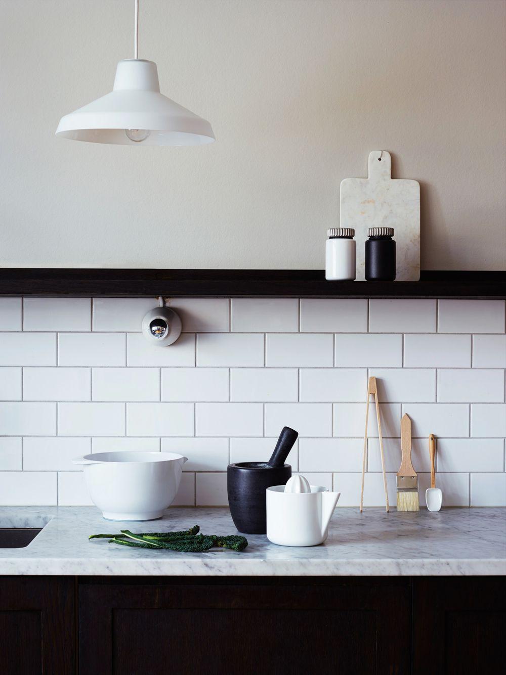 Kuchnia Białe Płytki ścienne Typu Metro Biały Kamienny