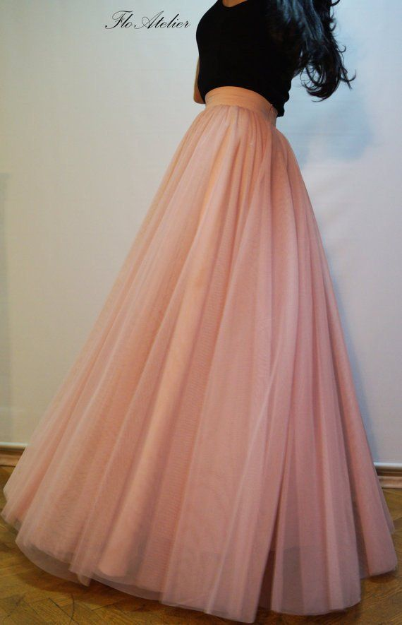 deabda86ff81 Women Tulle Skirt/Tutu Skirt/Princess Skirt/Wedding Skirt/Long Skirt/Misty  Rose Long Skirt/Tulle Dre