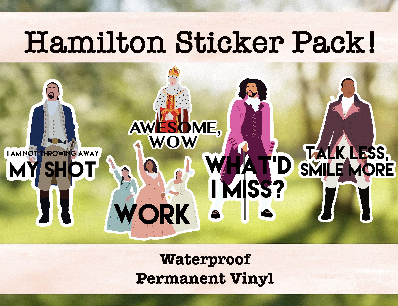 Hamilton Vinyl Sticker Pack Laptop Sticker Water Bottle Etsy Hamilton Stickers Stickers Packs Bottle Stickers