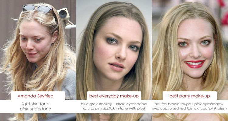Make Up Charts Amanda Seyfried And Her Skin S Pink Undertone Pale Skin Hair Color Pink Undertone Skin Hair Color For Fair Skin