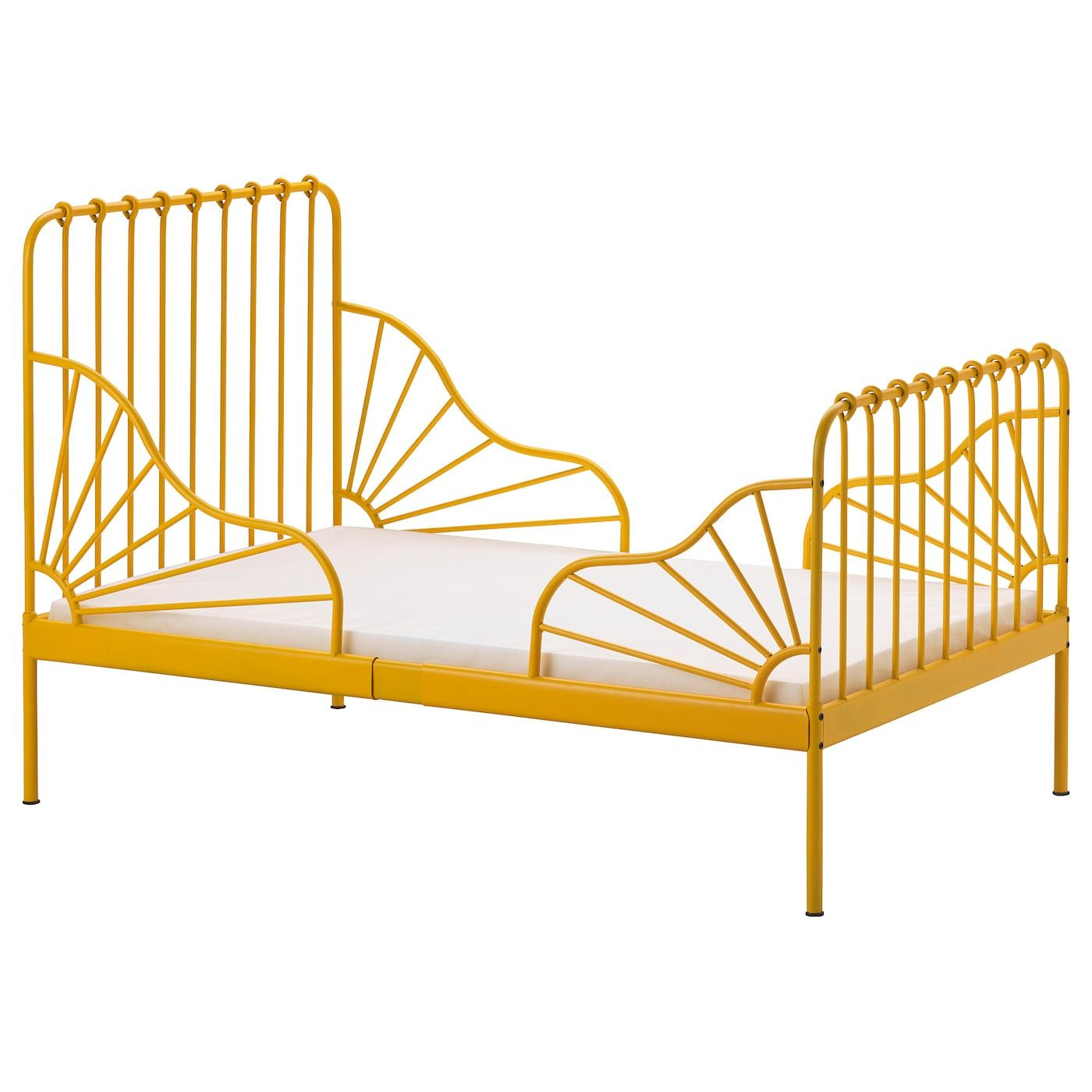 Ikea Minnen Ext Bed Frame With Slatted Bed Base Dark Yellow