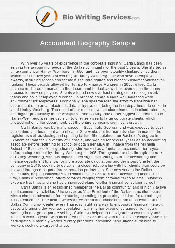 An accountant biography is an important summation of the - resume biography sample