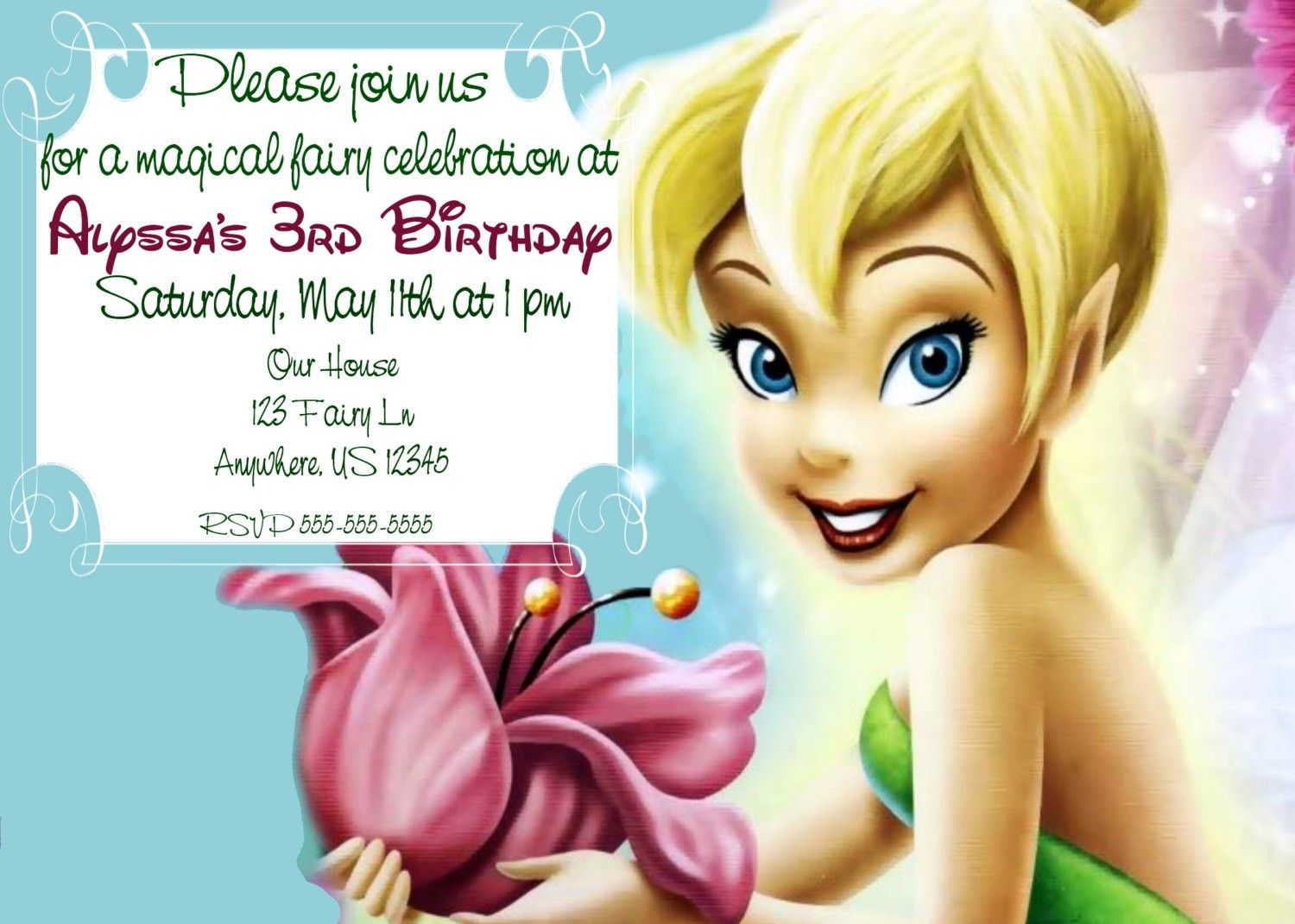 TINKER BELL invitations templates free Tinkerbell Invitations