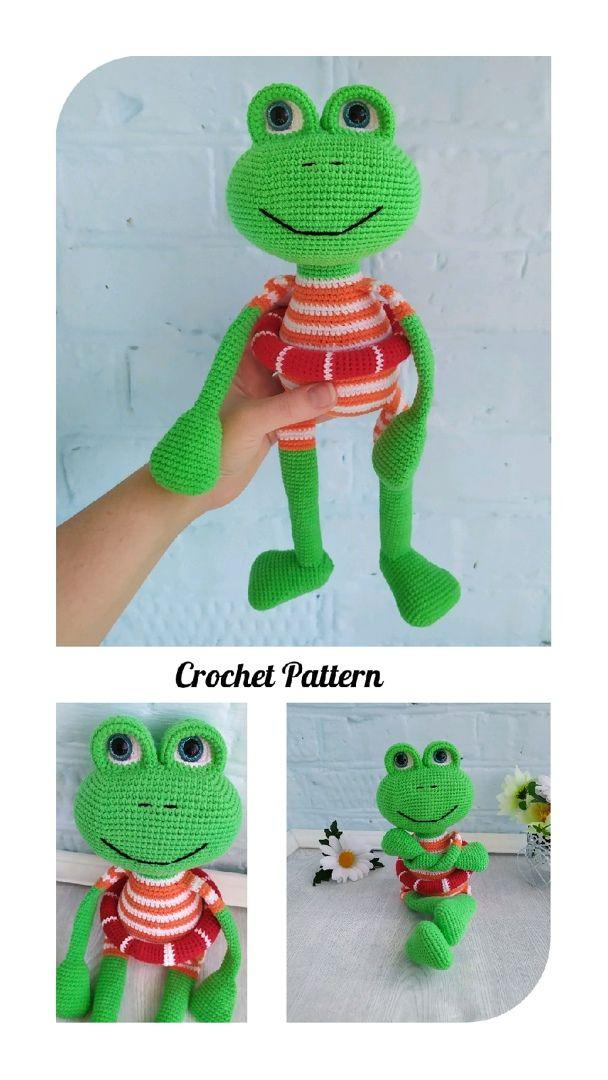 English crochet pattern Kevin the frog/ crochet pa