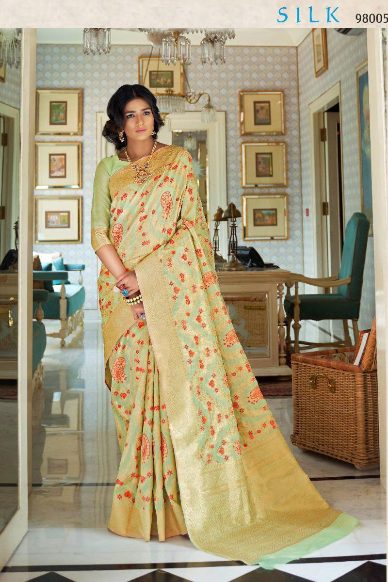 Mint Green Festive Wear Weaved Silk Saree Album No 1053 Saree Fabric Silk Blouse Fabric Silk Rate 2860INR Free Shipping In India For Order Please Inbox shipping