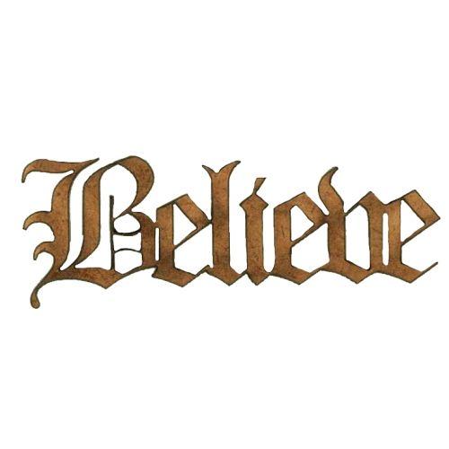 Believe - Wood Word in Olde English Font | XMAS WORDS LASER