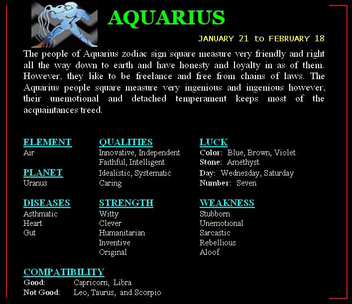 What star sign goes with aquarius