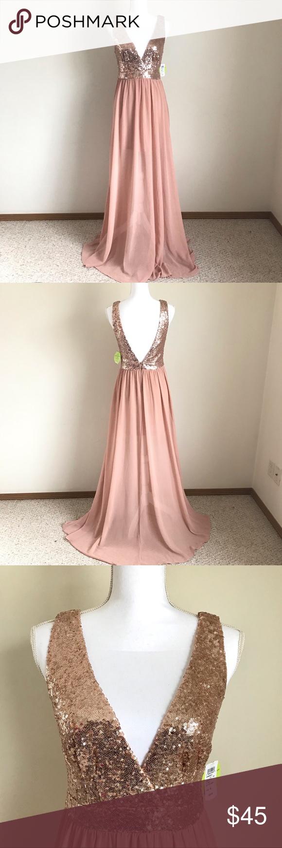 Windsor Champagne Pink Long Dress M Pink Long Dress Long Dress Dresses [ 1740 x 580 Pixel ]