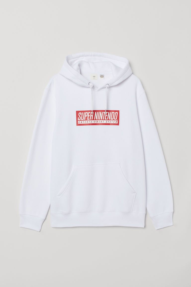 7c1815fde H&M Printed Hooded Sweatshirt - White in 2019 | Clothes ♥ | Hooded ...
