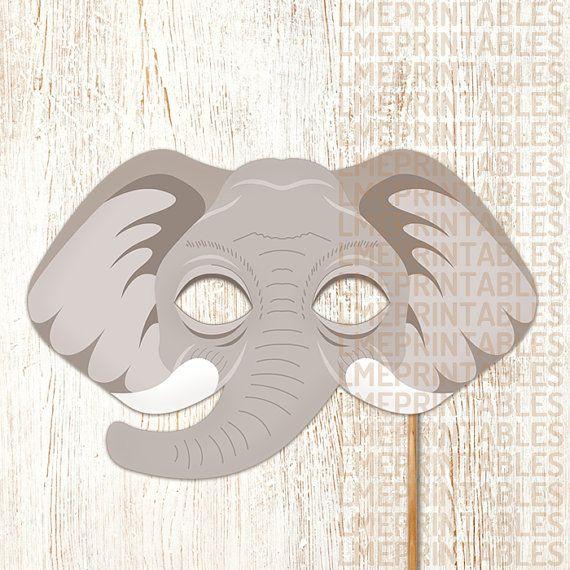Elephant Printable Mask Gray DIY Safari Jungle Animal Masks Booth