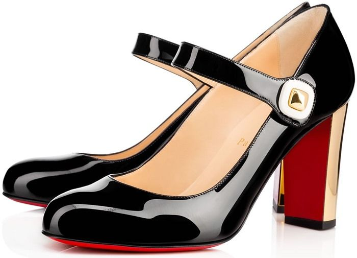 christian louboutin black mary jane shoes
