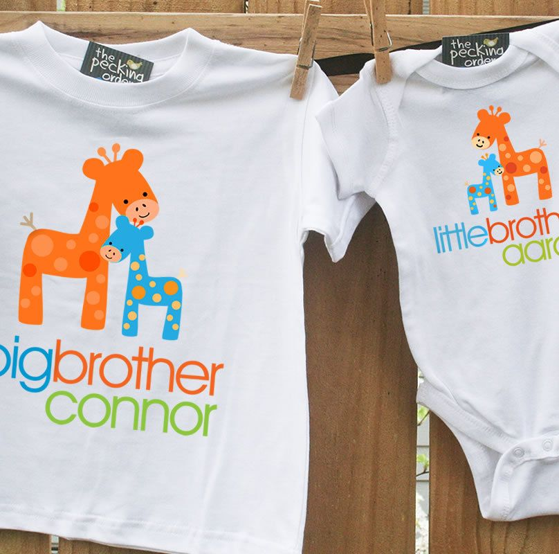 Big brother shirt, little brother shirt - matching big brother / little  brother set - FUNKY GIRAFFE - Big Brother Shirt, Little Brother Shirt - Matching Big Brother