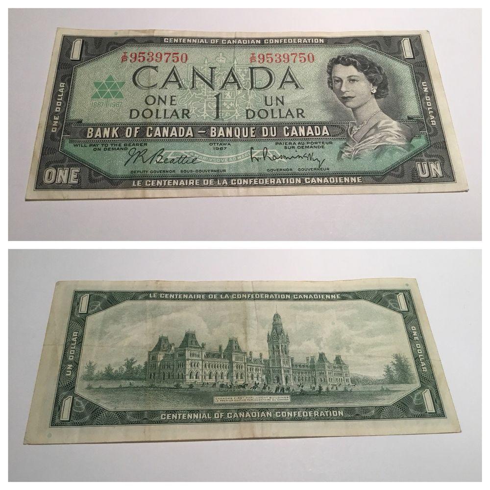 Vintage 1 Bill 1967 Canada Centennial Of Canadian Confederation