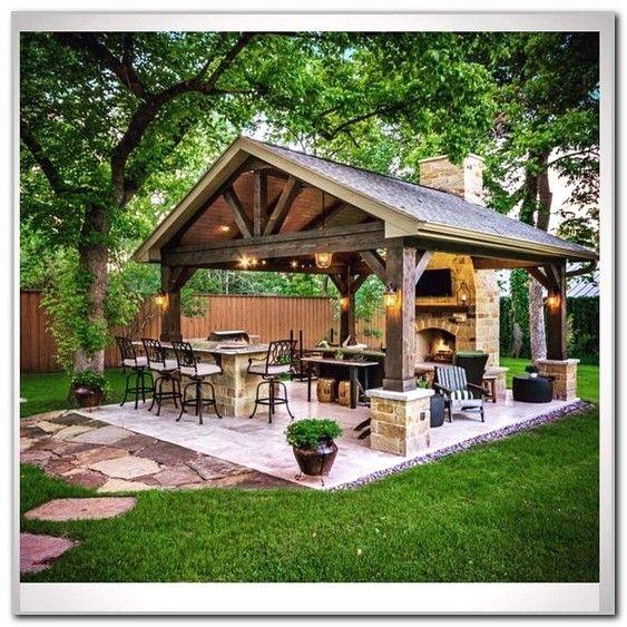 Outdoor Kitchen With Thatched Gazebo Outdoor In 2019: Best Gazebo Lighting Ideas - Best Design & Ideas