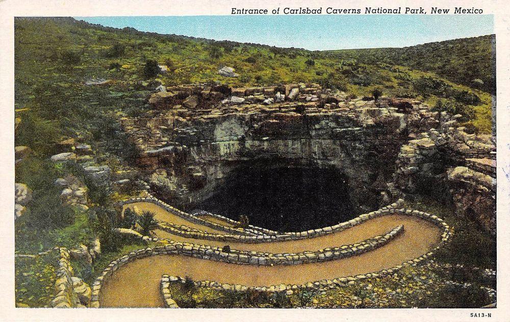 Postcard Nm Entrance Carlsbad Caverns National Park Vintage New Mexico Linen Pc Carlsbad Caverns National Park Carlsbad Caverns New Mexico