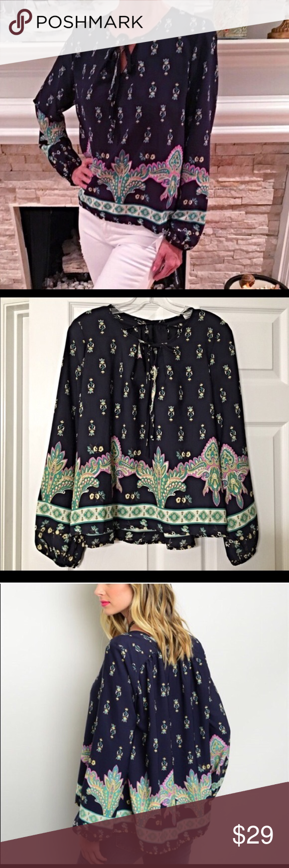 Stunning Contrast Navy/Mint boho blouse LAST ONE! Beautiful pattern with lavender- mint and pink in navy with tie top Tops Blouses