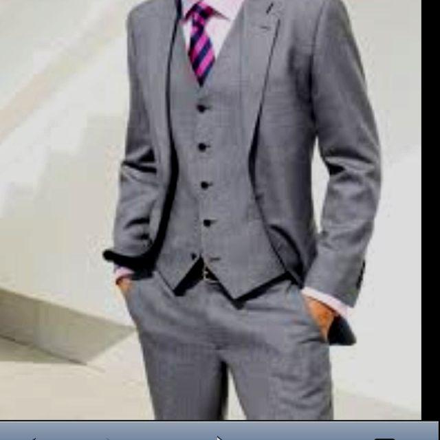 grey suit purple tie wedding groomsmen suits