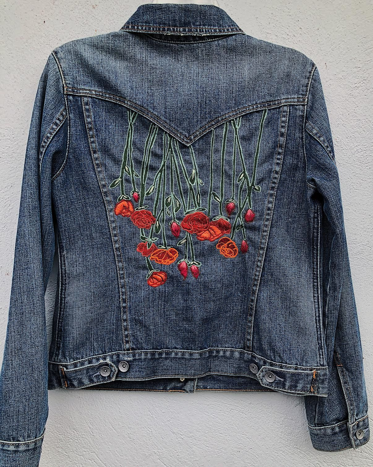 fd7bc2fb1881 Hand Embroidered Levi s Denim Jacket - Gypstitch Embroidery  embroidery   embroidereddenim