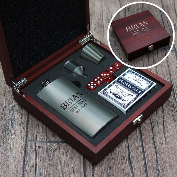 Personalized Gift Box with Flask Dice and Playing Cards Custom Engraved