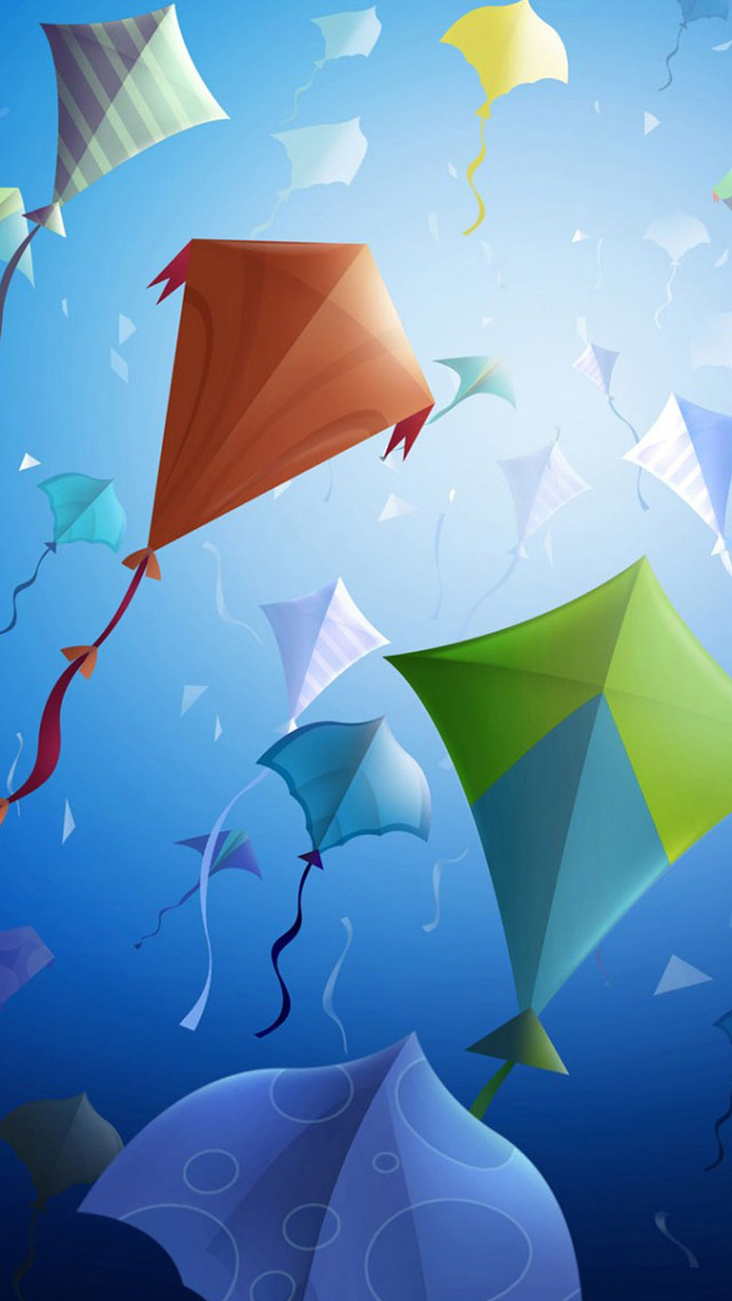 Blue, green, kites, light, abstract, apple, wallpaper