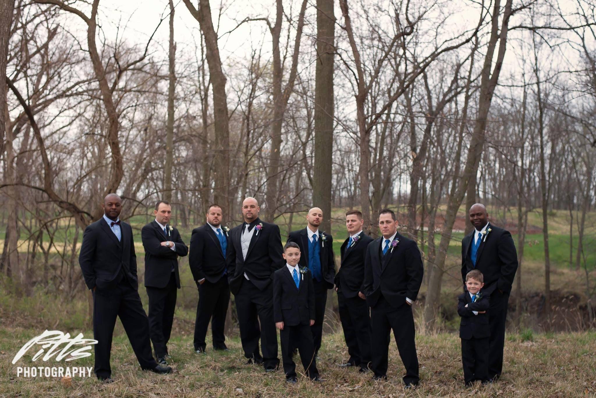 groomsmen posing on wedding day by pitts photographer baldwin city