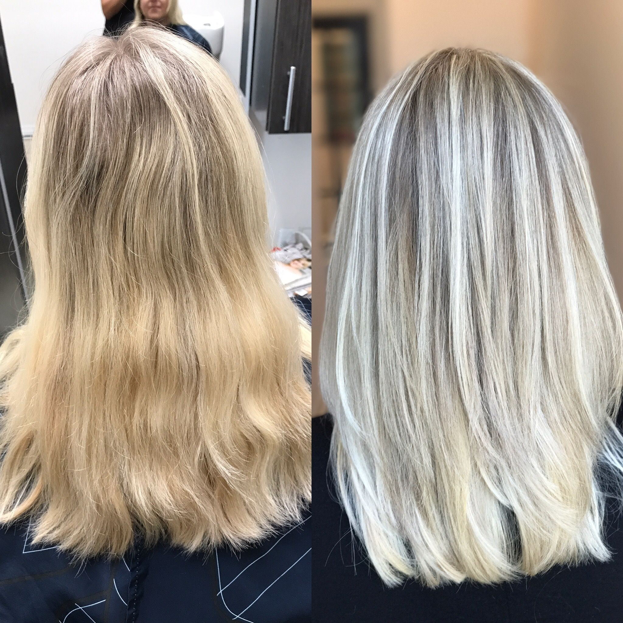 Golden Blonde To Icy Blonde With Lowlights Icy Blonde Hair