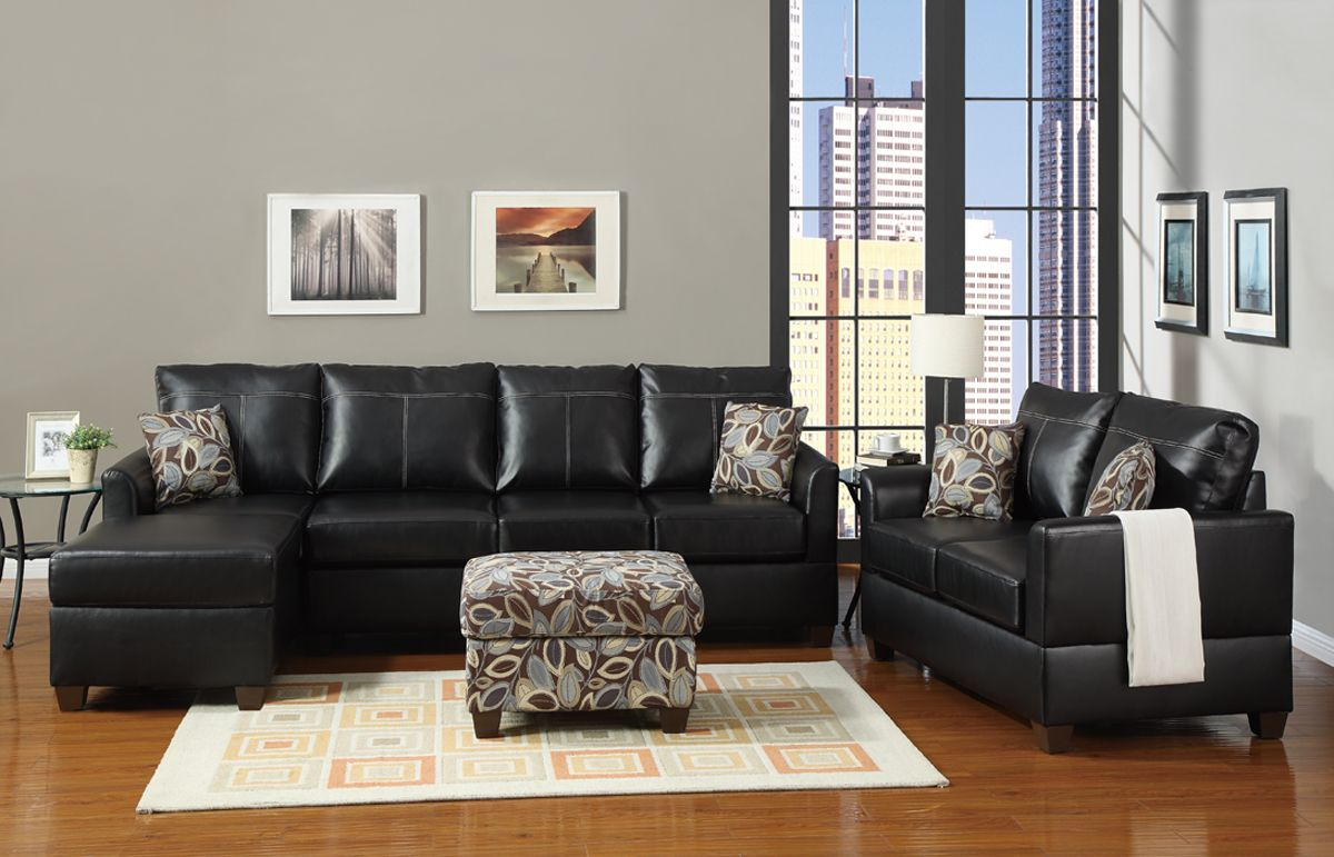 Best Black Bonded Leather Living Room Couch Set Black Leather 400 x 300