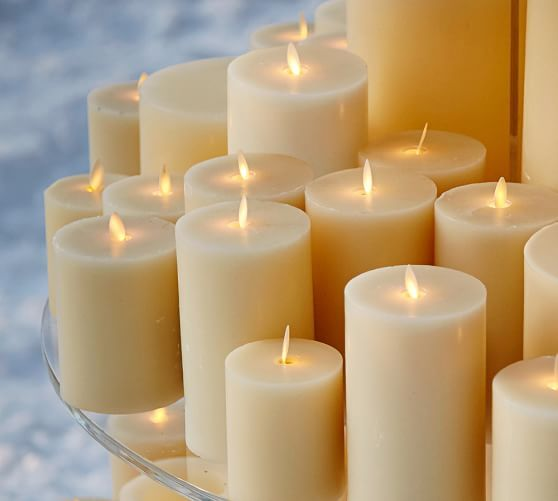 Pottery Barn Flameless Candles Premium Flickering Flameless Wax Pillar Candle  Ivory  Wish List