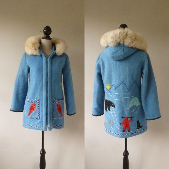 b2b450b0c82 Blue Inuit Parka - James Bay Wool Inuit Coat - Vintage Embroidered ...