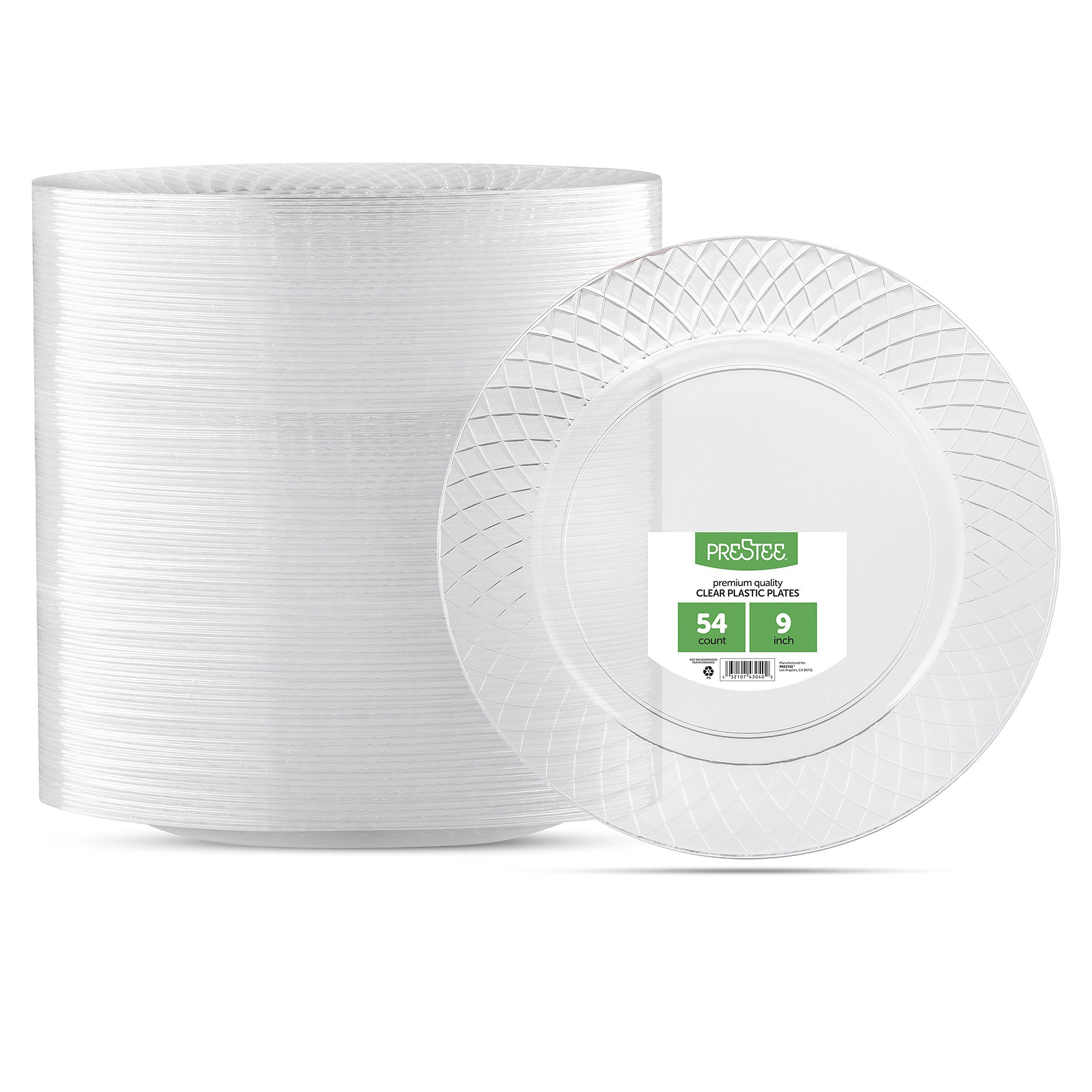 Prestee 9  Diamond Cut Design Crystal Heavyweight Clear Round Plastic Party Plates - 54 Count - Disposable - Premium Dinner Plates for Weddings Parties ...  sc 1 st  Pinterest & Prestee 9