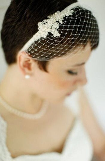 Birdcage Veil Bridal Headband Lace Headband By Hemsandbustles 78 00 Short Bridal Hair Short Wedding Hair Bridal Hair Veil