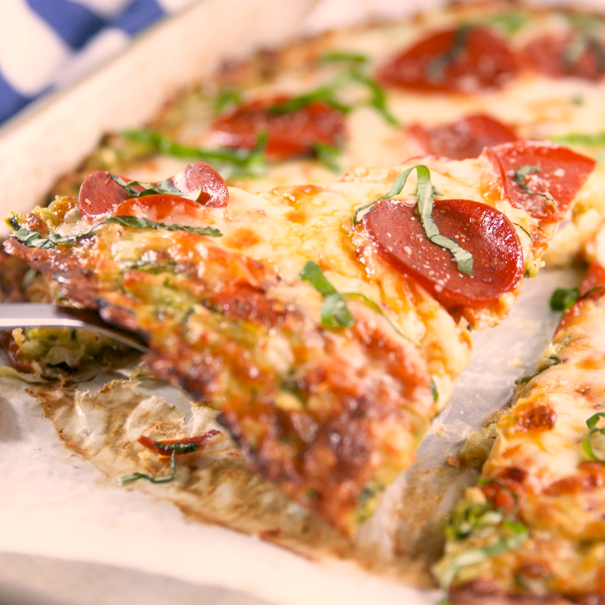 Zucchini Pizza Crust Who says cauliflower is the only healthy crust in town