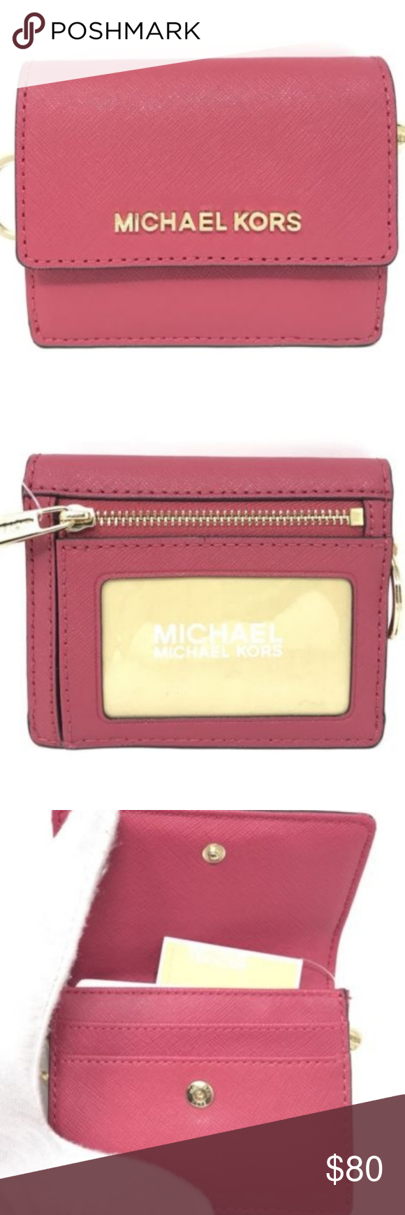 77149af46c57 NWT MICHAEL KORS JET SET ID KEY COIN CARD Wallet 100 % Guaranteed Authentic Michael  Kors