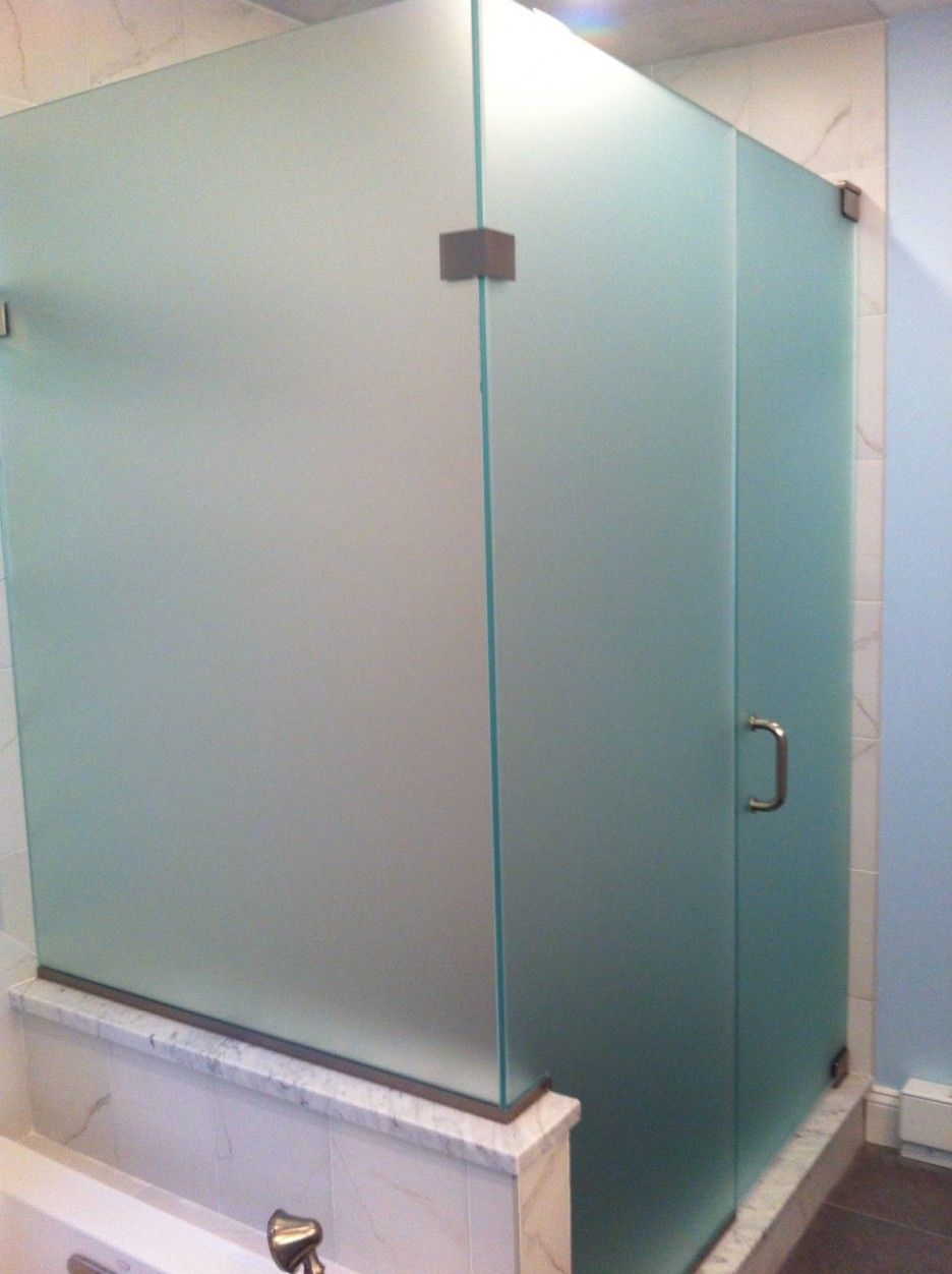 Nice Cool Frosted Glass Shower Doors. Custom Frameless Glass Corner Shower  Enclosure With